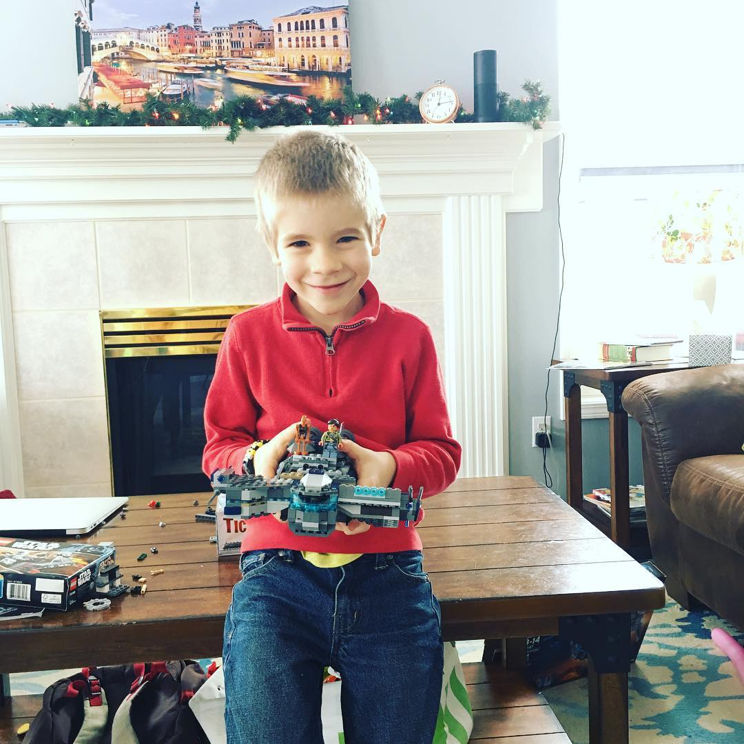 My nephew Oliver and the 280 piece LEGO ship hehellip